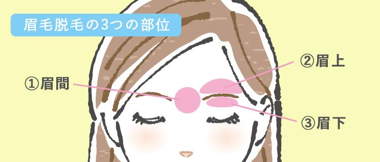 眉毛脱毛の3つの部位